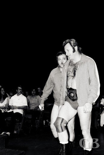 The World Champions Ray Stevens and Nick Bockwinkel approach the ring