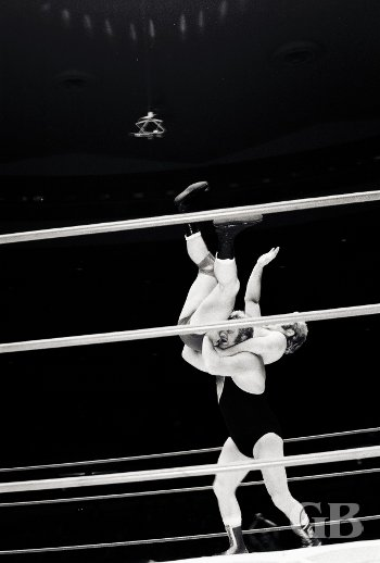 Red Bastien about to execute the Atomic Drop on Nick Bockwinkel