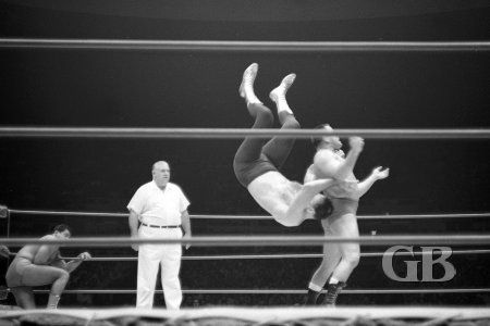 Pepper Gomez executes a back body drop on the 6foot 7inch Killer Kowalski.