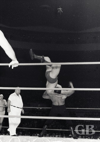 Cyclone Negra with a vertical suplex on Patt Patterson.