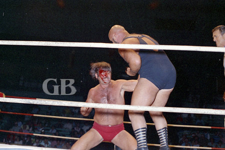 A bloody Ed Francis delivers a blow to Vachon's midsection.