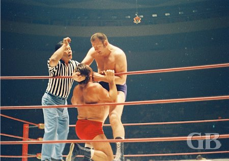 Gene Kiniski has Ed Francis in the ropes