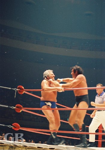 Johnny Barend answers the Sheik with a cane to the throat