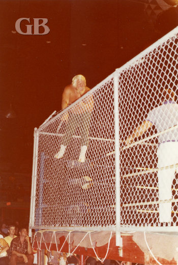 Maddog Mayne attempts to climb over the barbed wire at the top of the cage.