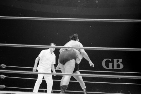 Pampero Firpo, the Missing Link, applies his famous Bear Hug on Curtis Iaukea.