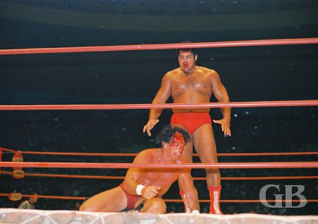 Pedro Morales, with Barend's blood dripping from his mouth, moves in for the kill