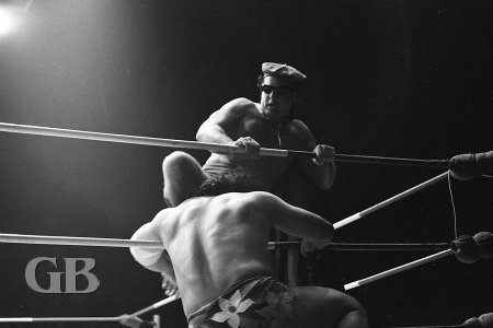 Johnny Barend kicks Maivia as soon as he enters the ring.