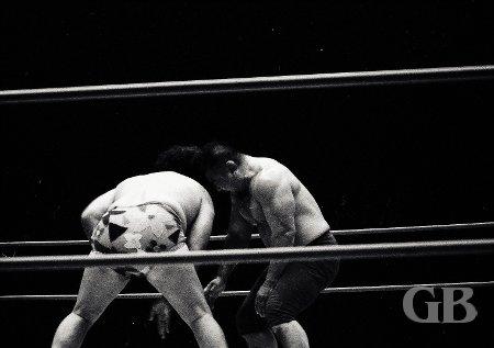 Neff Maiava delivers a Coconut Head Butt onto Kenji Shibuya's noggin.