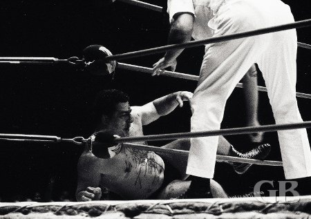 The referee checks Jim Hady as he bleeds on the ring's apron.