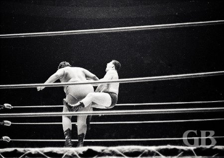 Curtis Iaukea shakes off a stunned Jim Hady.