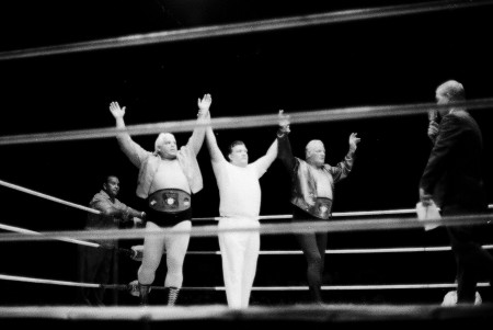 The champions enter the ring.
