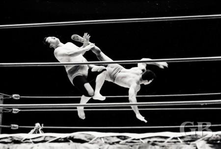 Pedro Morales delivers a whopper of a drop kick to a stunned Harry Fujiwara (Mr. Fuji).