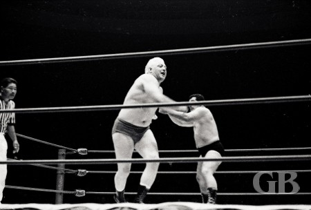 Jim Hady throws Ray Stevens into the ropes.