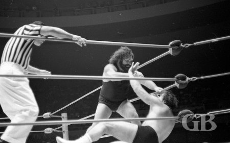Pampero Firpo, AKA The Missing Link, attacks Maurice in the corner.