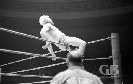 Ray Stevens gets thrown onto the top turnbuckle by Jim Hady.