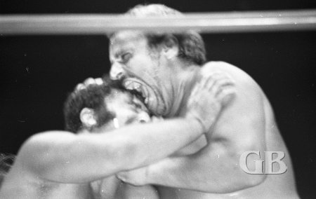 The Sheik exercises his jaw by biting Fred Curry's head.