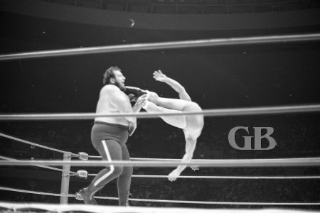 Bockwinkel Drop Kicks Gorilla Monsoon on the jaw this time around