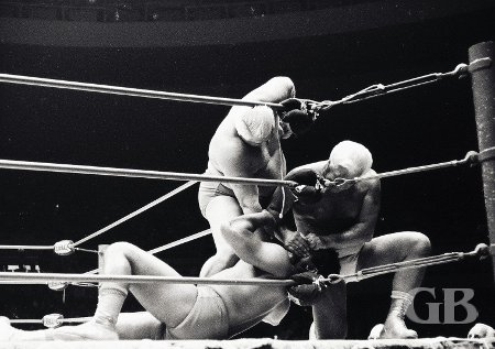 Ripper Collins and Fred Blassie work over Pepper Gomez in the corner.