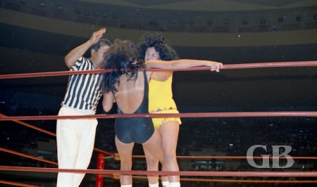 The Fabulous Moolah sizes up Toni Rose against the ropes