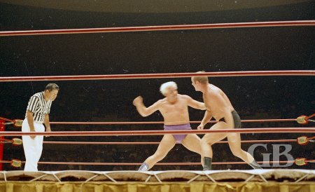 Coming off the ropes, Dory Funk Jr. is about to run into Collins'