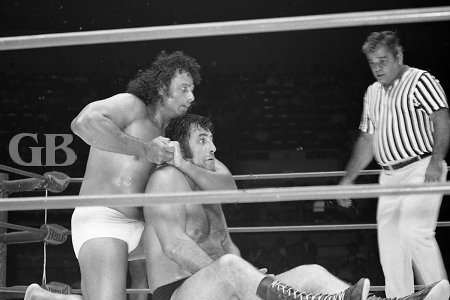 Jimmy Snuka tightens the headlock on Baron Scicluna.