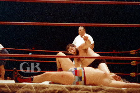 Gorilla Monsoon pinned Ray Stevens for the third and deciding fall.