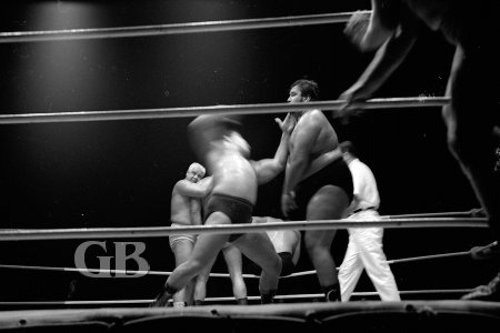 Jim Hady about to land a haymaker on Curtis Iaukea.