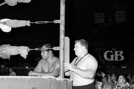 Friday Allman outside the ring with his mentor Sam Steamboat.