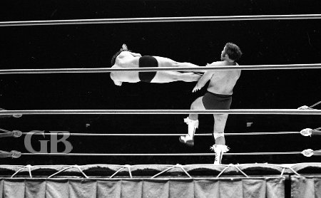 Jimmy Snuka connects to Ray Kamaka's chest with a flying Drop Kick.