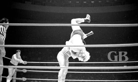 Pedro Morales slams Nick Bockwinkel while his partner Wahoo McDaniel watches.