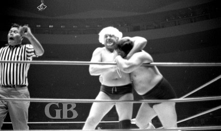Ray Stevens holds a tight Head Lock on Wahoo McDaniel while his partner Nick Bockwinkel tries to engage the referee.