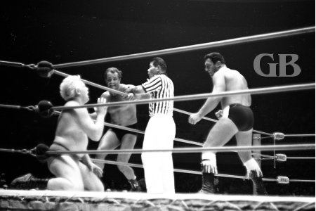 Ray Stevens begs for mercy as Kozak and White Wolf close in.