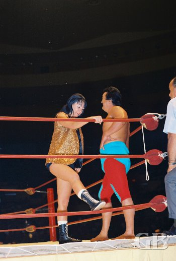 The mixed tag team of Harry Fujiwara (the future Mr. Fuji) and Toni Rose