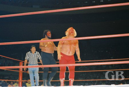 Both bleeding, Iaukea and Mayne stagger toward the middle of the ring