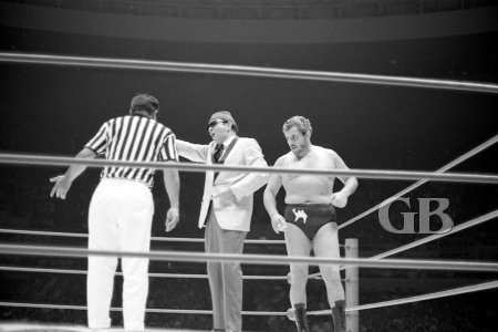 Referee Wally Tsutsumi, the Sheik's manager The Weasel, and The Sheik himself