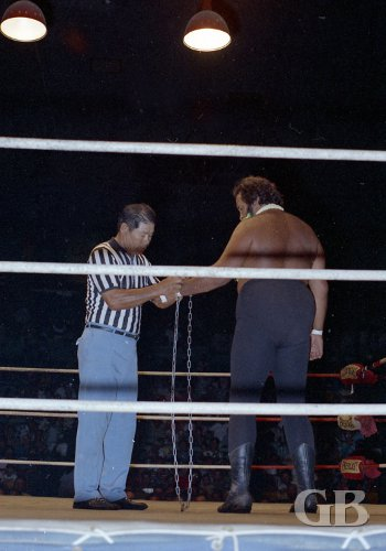 Referee Wally Tsutsumi attaches one end of the chain to Curtis Iaukea's wrist