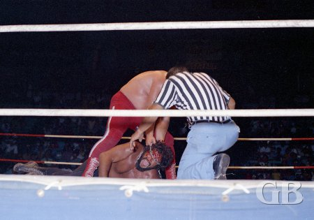 Maddog Mayne works over a bleeding Curtis Iaukea with the chain