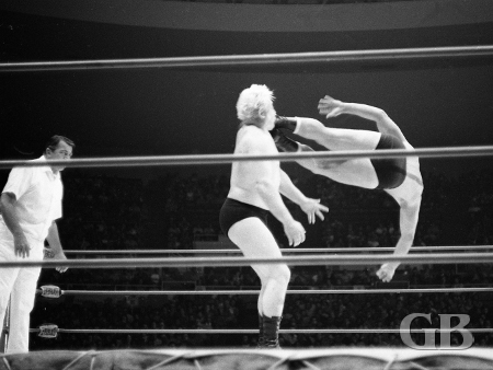 Nick Bockwinkel dropkicks Ray Stevens.