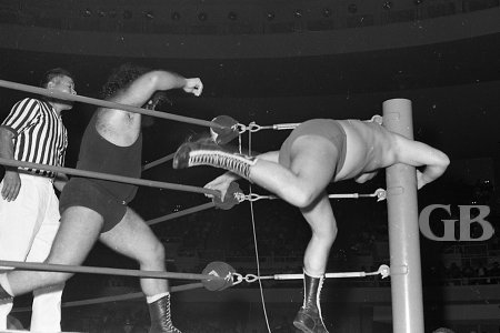 Pampero Firpo, AKA The Missing Link, slams Ray Stevens into the ring post.