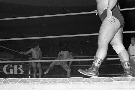 Kongozan goes through his pre-match sumo exercises next to his partner, Neff Maiava.