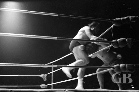 Maurice battles Maiava on the ring apron