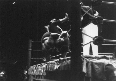 Monsoon and Iaukea going over the ropes