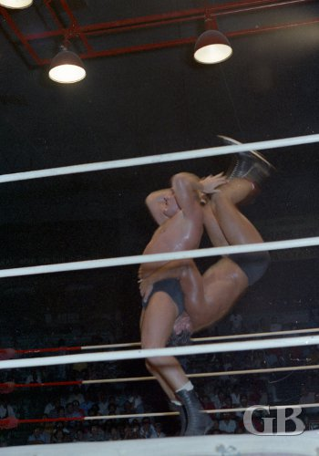 Karl Gotch flips Paul Diamond.