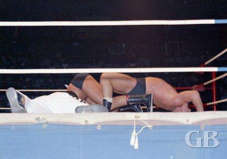 Karl Gotch goes into a wrestler's bridge in an attempt to pin Paul Diamond.