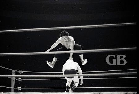 Rocky Montero hops over Ray Stevens